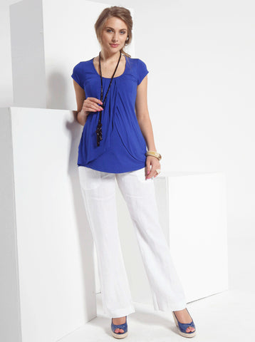 White Linen Maternity Trousers - Angel Maternity Europe - 1