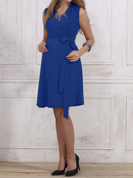 Classic Maternity Wrap Dress - Cobolt Blue - Angel Maternity Europe - 1