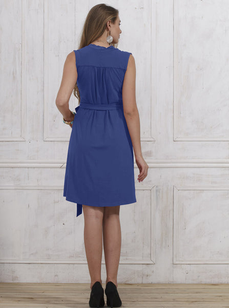 Classic Maternity Wrap Dress - Cobolt Blue - Angel Maternity Europe - 5