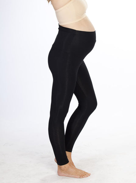 Black Cotton Maternity Leggings - Angel Maternity Europe - 3