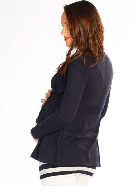 Knitted Cardigan with Waist Tie Navy - Angel Maternity Europe - 4