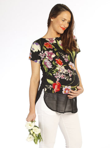 Floral Two-Way Chiffon Maternity Top - Angel Maternity Europe - 1
