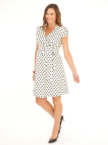 Spot Maternity Cotton Wrap Dress - Angel Maternity Europe - 1