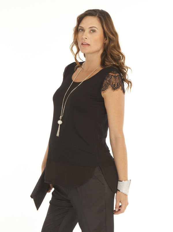 Black Little Lace Sleeve Maternity Top - Angel Maternity Europe - 1