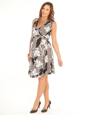 Classic Maternity Wrap Dress - Black & White - Angel Maternity Europe - 1