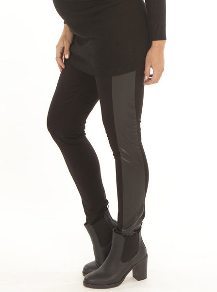 Maternity leggings with faux leather panel - Angel Maternity Europe - 2