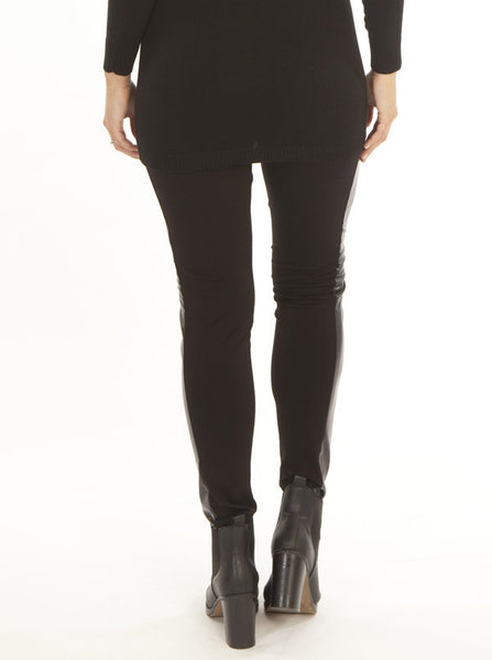 Maternity leggings with faux leather panel - Angel Maternity Europe - 4