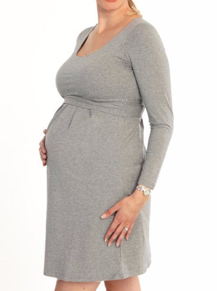'Chloe' Cotton Maternity and Breastfeeding Dress - Grey - Angel Maternity Europe - 1