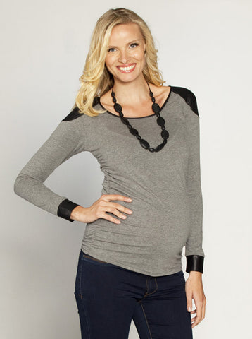 Long Sleeved Maternity Top Grey - Angel Maternity Europe - 1