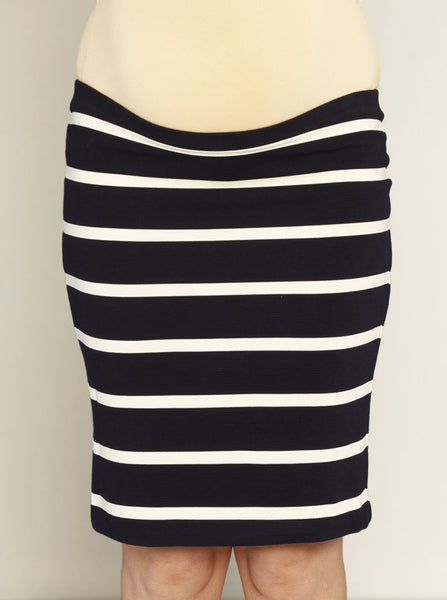 Fitted Cut Stretchy Skirt in Navy Stripes - Angel Maternity Europe - 3