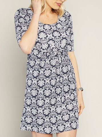 Navy & White 'Chloe' Cotton Maternity and Breastfeeding Dress - Angel Maternity Europe - 1