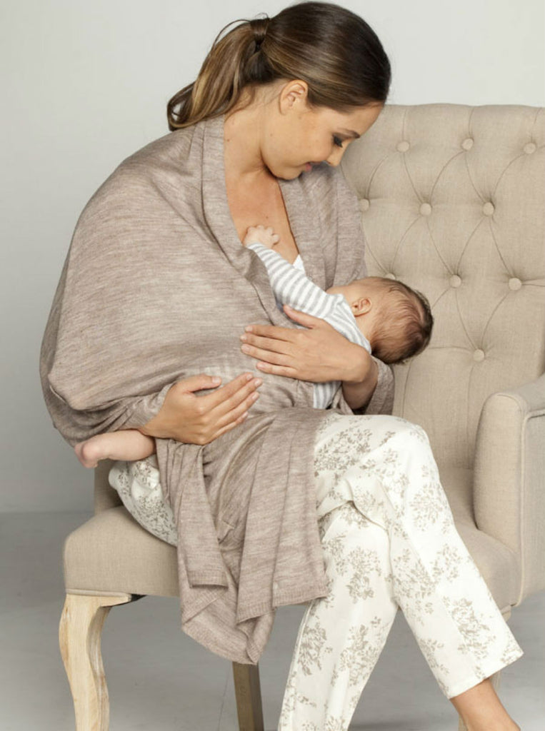 Versatile Wool Shawl Taupe - Angel Maternity Europe - 1