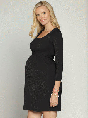 'Chloe' Cotton Maternity and Breastfeeding Dress - Black - Angel Maternity Europe - 1