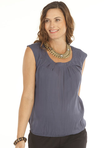 Maternity Round Neck Top in Steel Blue - Angel Maternity Europe - 1