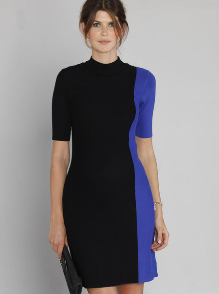 Contrast Side Panel Knitted Dress - Black & Blue - Angel Maternity Europe - 2