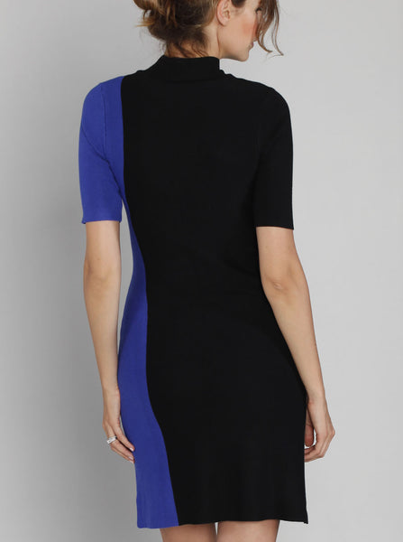 Contrast Side Panel Knitted Dress - Black & Blue - Angel Maternity Europe - 3