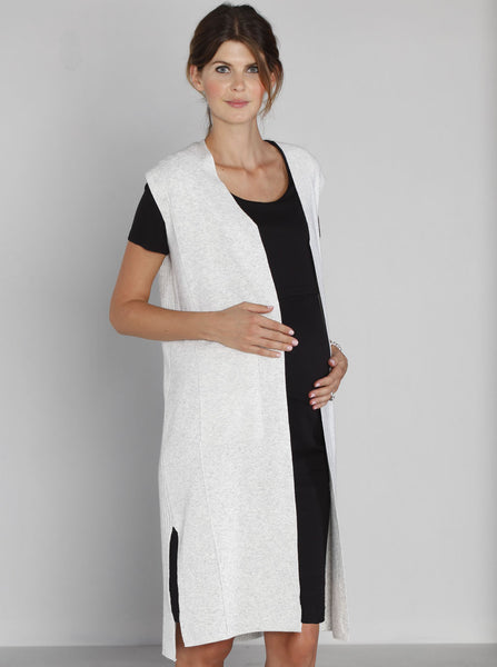 Luxury Sleeveless Long Knitted Cardigan - Off White - Angel Maternity Europe - 4