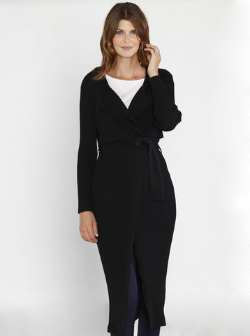 Luxury Sleeveless Long Knitted Cardigan - Black