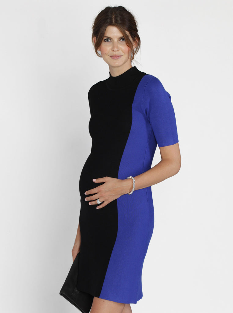 Contrast Side Panel Knitted Dress - Black & Blue - Angel Maternity Europe - 1