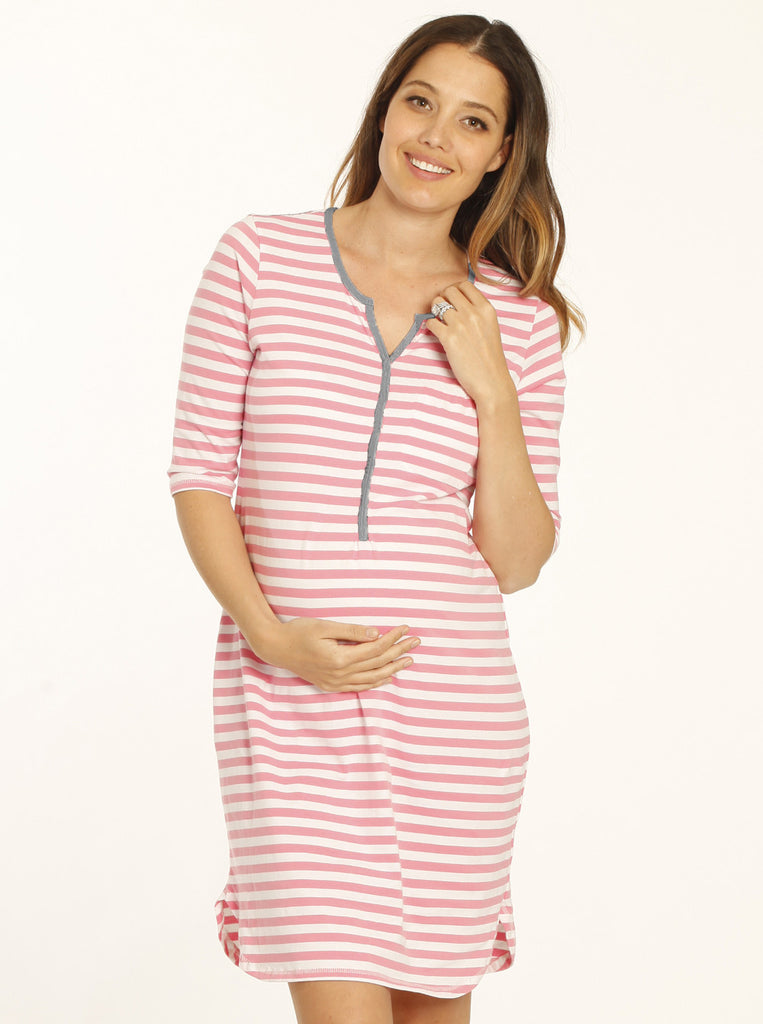 Button Front Maternity & Breastfeeding Nightie - Pink Stripes