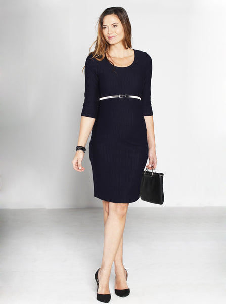Navy Fitted Half Sleeve Maternity Dress