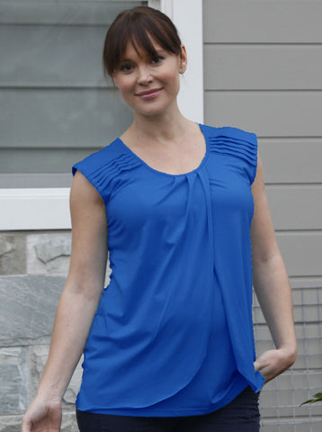 Cobalt Blue Petal Front Maternity and Breastfeeding Top