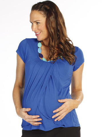 Petal Front Maternity & Breastfeeding Top - Blue - Angel Maternity Europe - 1