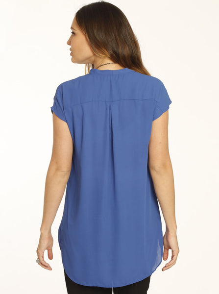 Relax Fit Maternity & Breastfeeding Blouse Blue - Angel Maternity Europe - 3