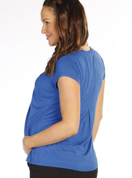 Petal Front Maternity & Breastfeeding Top Navy - Angel Maternity Europe - 3