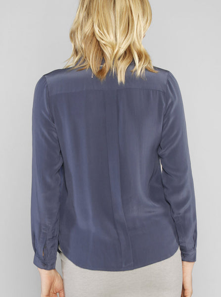 Maternity Long Sleeve Silk Blouse in Blue - Angel Maternity Europe - 3