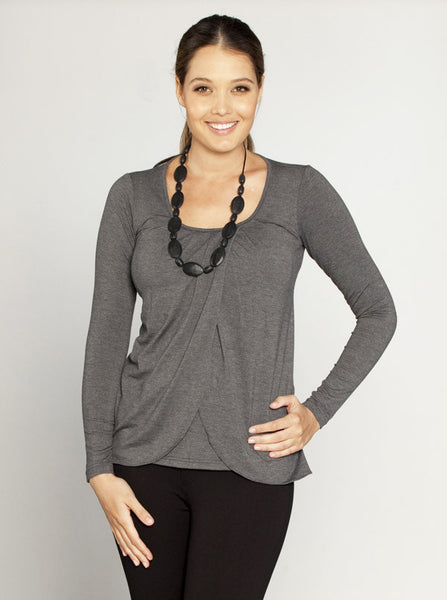 Petal front Maternity and Breastfeeding Top - Grey - Angel Maternity Europe - 1