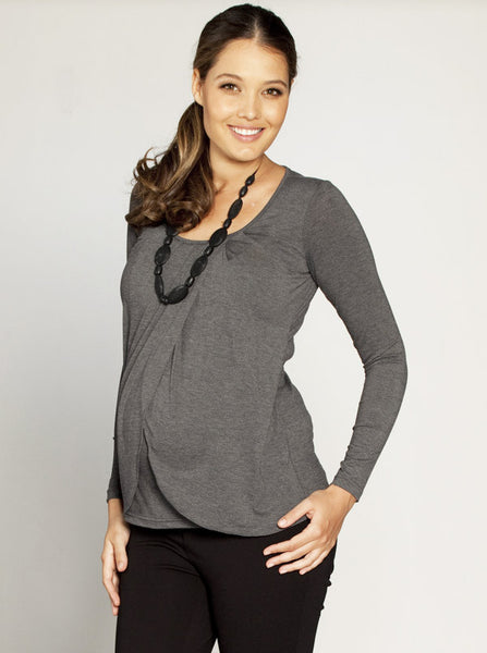 Petal front Maternity and Breastfeeding Top - Grey - Angel Maternity Europe - 2