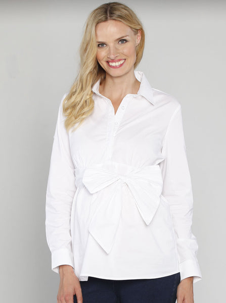 Maternity Long Sleeve Tie Waist Shirt - Angel Maternity Europe - 1