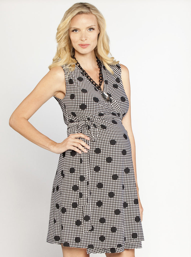 Black & White Maternity Work Wrap Dress - Angel Maternity Europe - 1