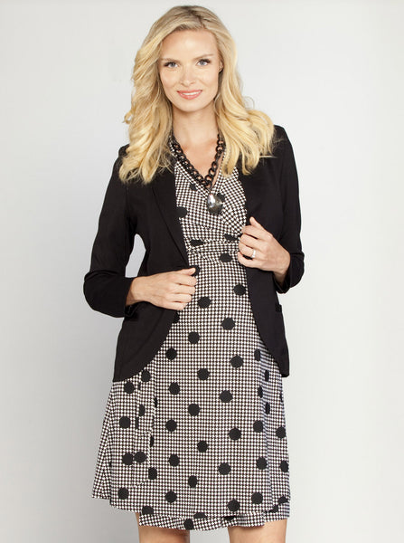 Black & White Maternity Work Wrap Dress - Angel Maternity Europe - 2