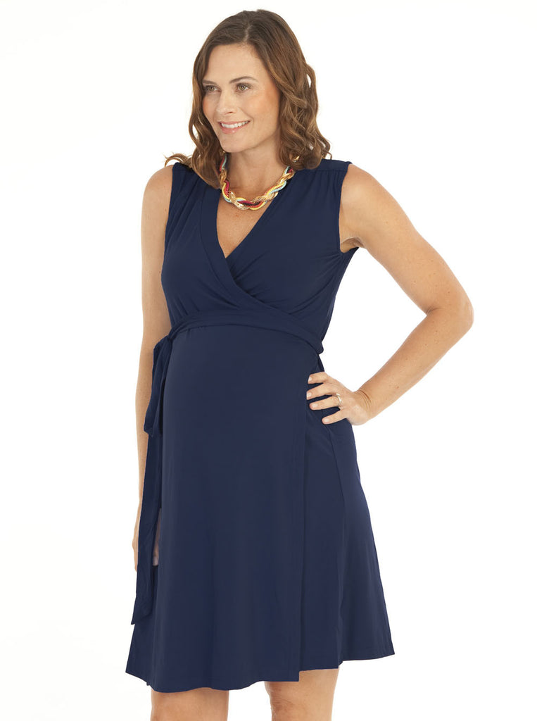 Classic Maternity Wrap Dress - Navy - Angel Maternity Europe - 1