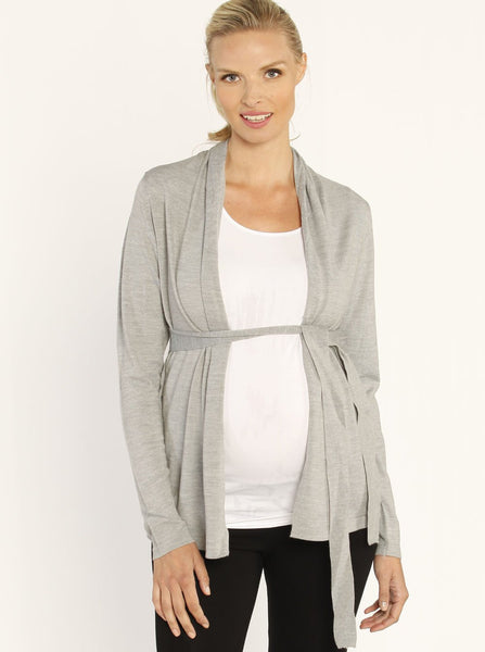 Knitted Cardigan with Waist Tie Grey