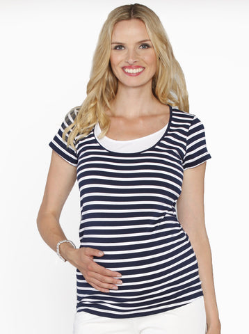 Maternity Basic Nursing Tee in Navy Stripes - Angel Maternity Europe - 1
