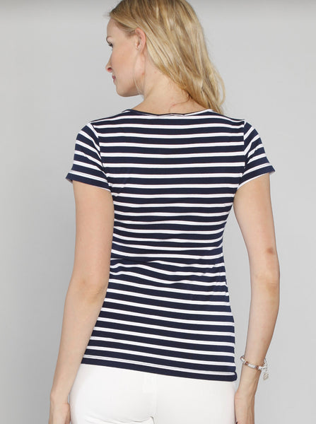 Maternity Basic Nursing Tee in Navy Stripes - Angel Maternity Europe - 3