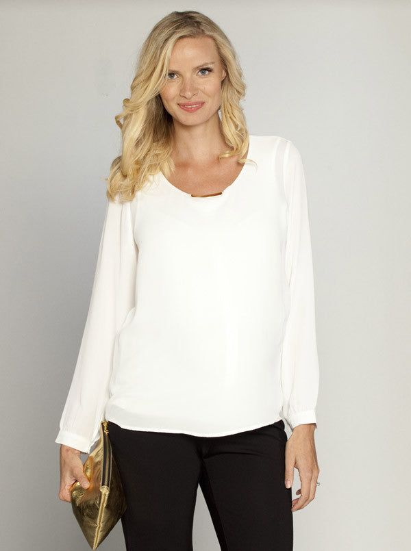 Layered Chiffon Breastfeeding Blouse - Angel Maternity Europe - 1
