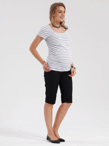 Black Cotton Maternity Shorts - Angel Maternity Europe - 1