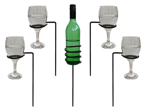 Outdoor Drinks Holder - Wine Bottle & Glasses