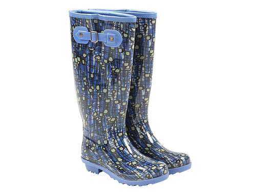 Briers Patterned Ladies Wellington Boots - Blue Tulip