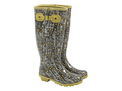 Briers Patterned Ladies Wellington Boots - Yellow Tulip