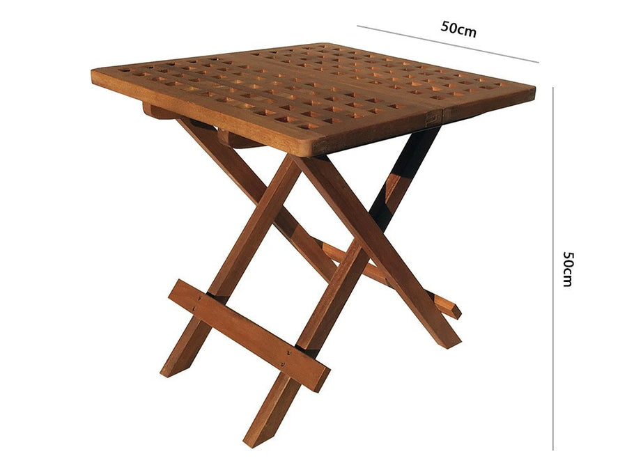 Hardwood Garden Folding Side Table - Measurements