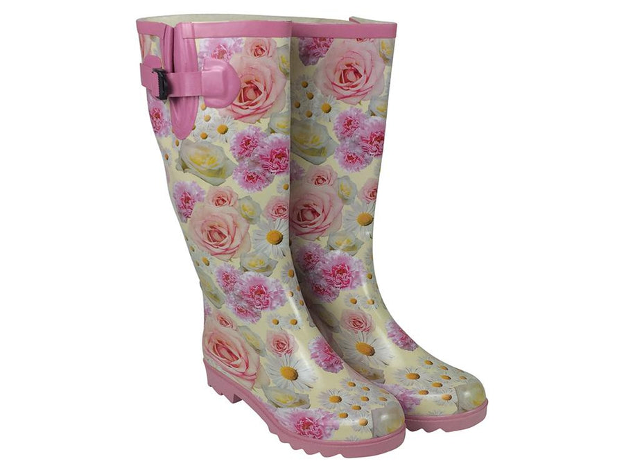 Patterned Ladies Wellington Boots - Pink Rose Print