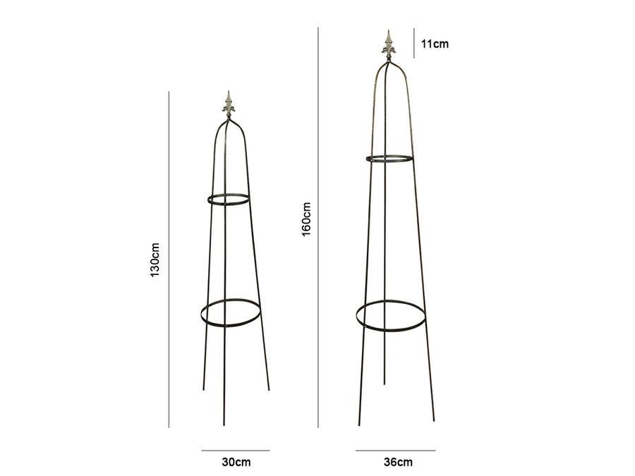 Raw Steel Garden Obelisk - Measurements