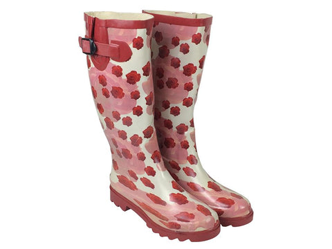 Patterned Ladies Wellington Boots - Red Rose Print