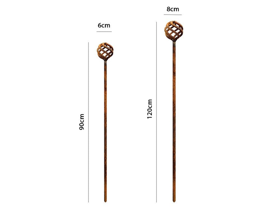 Decorative Rusty Sphere Stake - Measurements