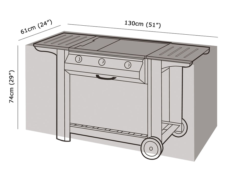 W1124 Medium Flatbed BBQ Cover Measurements